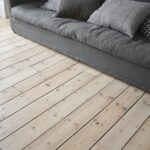 Original pine floor sanded , stained and lacquered